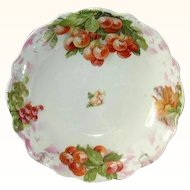 Porcelain Fruit Bowl, Handpainted Cherries, GS Bavaria