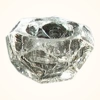 Faceted Open Salt Thick Clear Glass