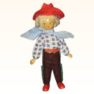 Wooden Cowboy Doll Movable Red Hat Chaps