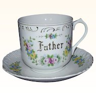 Father Cup and Saucer Florals with Gold Accents Japan