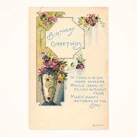 1917 Embossed Birthday Glitter Post Card