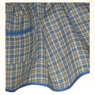 Blue & White Plaid Handmade Apron
