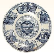 Youngsville Pennsylvania Blue and White Souvenir Plate by Kettle Springs Kilns 1963