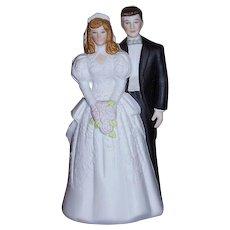 Bride and Groom Wedding Cake Topper Bisque Porcelain 1988 MINT
