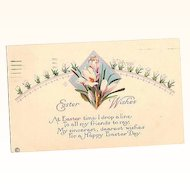 1920 Easter Wishes ~ Stecher Lithography Co. Post Card Series 754A