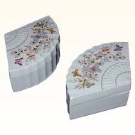 Fan Shaped Porcelain Trinket Box Pair - Butterflies Japan 1980 Avon