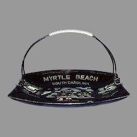 Mid Century Modern Myrtle Beach, SC Souvenir Tray Wrapped Handle 1960s