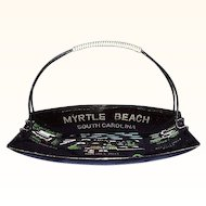 Myrtle Beach, SC Souvenir Tray Wrapped Handle 1960s