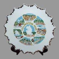 Yellowstone Park Souvenir Plate, Saw Tooth Gold Edge, Japan