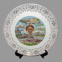 Oklahoma Will Rogers Souvenir Plate Gold Floral Border
