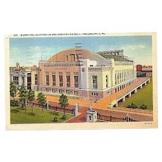 1948 Curteich Linen Postcard ~ Philadelphia  Municipal Auditorium and Convention Hall