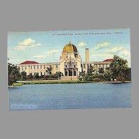 1943 Curteich Linen Postcard ~ Chicago Garfield Park, Lagoon and Administration Building