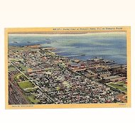 1947 Curteich Linen Postcard ~ Aerial View of Newport News, VA on Hampton Roads