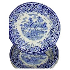 """British Anchor, Stratford, """"Scenes From The Shakespeare Country"""" Four Saucers"""