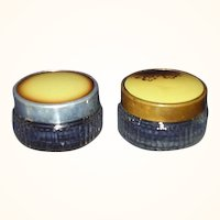 Art Deco Vanity Jars, Clear Glass with Enamel Tops, Two Jars