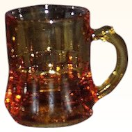 Federal Glass Amber Miniature Shot Glass Mugs Set of 2