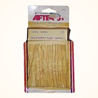 Faux Ivory Party Food Picks, Set of 20 Forks, 1981 MIB