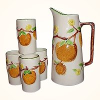 Napcoware Orange Juice Pitcher, 6 Tumblers Set, Japan