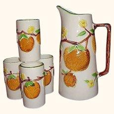 Napcoware Orange Juice Pitcher, 6 Tumblers Set, Japan