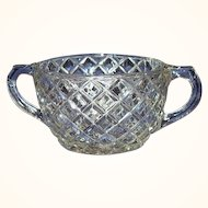 Hocking Waterford Waffle Open Sugar Bowl Depression Glass