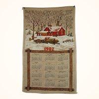 1982 Linen Calendar Towel Snowy Farm Scene FREE Shipping in US