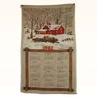 1982 Linen Calendar Towel Snowy Farm Scene FREE Shipping in US