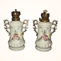 ELVIN Japan Mini Oil Lamps Matching Pair Hand Painted Pink Roses