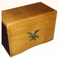Wooden Recipe Box ~ Brass Early American Eagle Accent ~ Maison Imports Japan