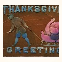 Early 1900s Thanksgiving Postcard Embossed and Air Brushed ~ Unusual