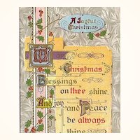 1911 Christmas Embossed Gold Postcard