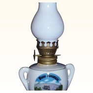 Mini Oil Lamp Stone Mountain Souvenir ~ Milk Glass Chimney ~ JAPAN