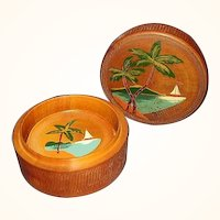 Teak Coasters Florida Souvenir Engraved Hand Painted JAPAN