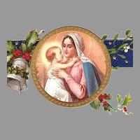 Vintage Christmas Postcard Embossed Gilded Madonna and Child, Unused