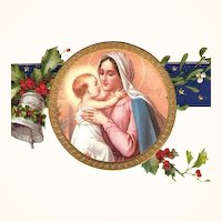 Vintage Christmas Postcard Embossed Gilded Madonna and Child, Unused