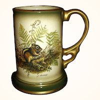 1977 Jim Beam Stein Mug Woodland Chipmunk by Lockhart ~ Regal China J-494