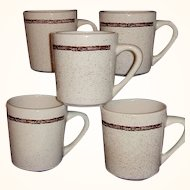 Sterling Restaurant Ware 5 Coffee Mugs Barbed Wire Pattern