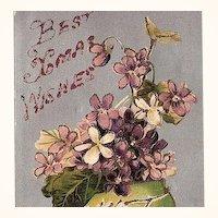 1900s Christmas Glitter Post Card BB London Saxony
