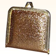 Retro Chic Purse Mirror Compact Gold Tone Embossed Vinyl 1970s