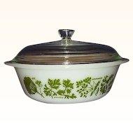 """Glasbake """"Garden Herb"""" 2 Quart Covered Casserole Dish"""