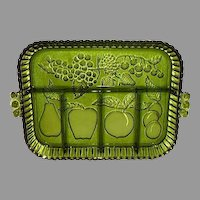 Divided Avocado Green Pressed Glass Fruit Tray Platter ~ Beautiful!