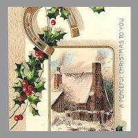 1909 Embossed Christmas Post Card - Gold Horseshoe