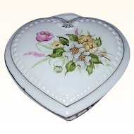 Heart Shaped Porcelain Vanity Box ~ Pretty Dogwood Florals ~ JAPAN