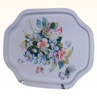 Metal Vanity Tray Floral Design ~ Made in Hong Kong