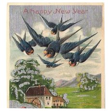 Embossed Happy New Year Post Card ~ Blue Birds