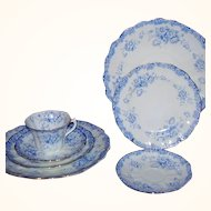 Allertons England Arran 7-Piece Grouping Blue White Floral Transferware