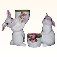 AVON White Bunny Rabbit Candle Holders ~ 1980 & 1981 ~ Handpainted