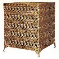 Vanity Goldtone Metal Filigree Square Tissue Box Holder