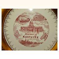 Kentucky Souvenir Plate Sabin Crest-O-Gold 22 K Border