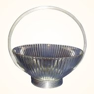 Ribbed Clear Crystal Bowl with Round Silver Plated Base and Handle