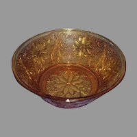 Tiara Crystal Sandwich Amber Collection Round Serving Bowl